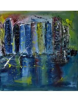 Ville sur le lac - peinture urbaine abstraite