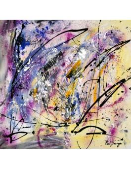 Peps, tableau abstrait jaune et violet