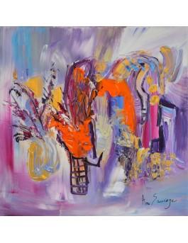 Le magicien des fleurs - tableau abstrait violet et orange
