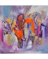 tableau abstrait violet et orange