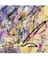 tableau abstrait jaune et violet