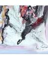 tableau abstrait gris noir blanc rouge