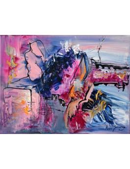 La femme qui rêve - tableau abstrait rose