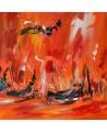 tableau abstrait rouge orange