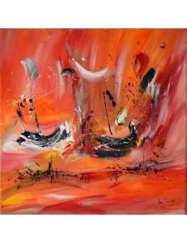 La vie en mer - tableau abstrait orange