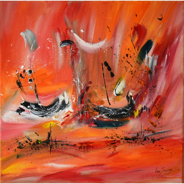 tableau abstrait orange rouge bateaux