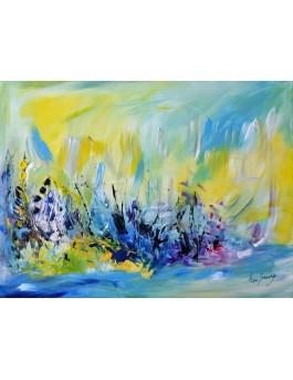 tableau abstrait jaune et bleu pas cher