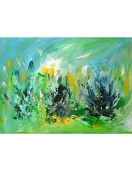 En pleine forêt n° 2 - tableau abstrait contemporain vert sur plaque de bois