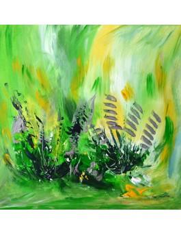 En pleine forêt - tableau abstrait vert sur plaque de bois