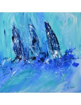 Trois voiliers - tableau voiliers en mer sur plaque de bois
