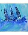 Trois voiliers - tableau abstrait de bateaux sur bois entoilé