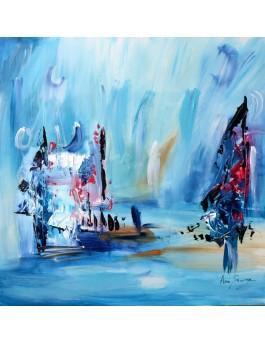 tableau abstrait bleu sur bois entoilé