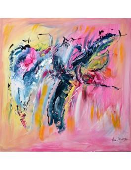 L'ouverture du coeur -  tableau abstrait rose jaune bleu sur plaque de bois