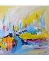 tableau abstrait coloré sur bois entoilé