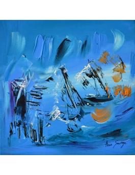 En mouvement - tableau contemporain bleu