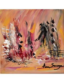 Soleil du Sud - tableau abstrait orangé