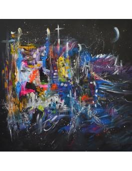 Grand tableau abstrait coloré sur fond noir