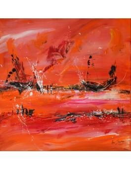 Bateaux sur le monde - tableau abstrait orange rouge noir