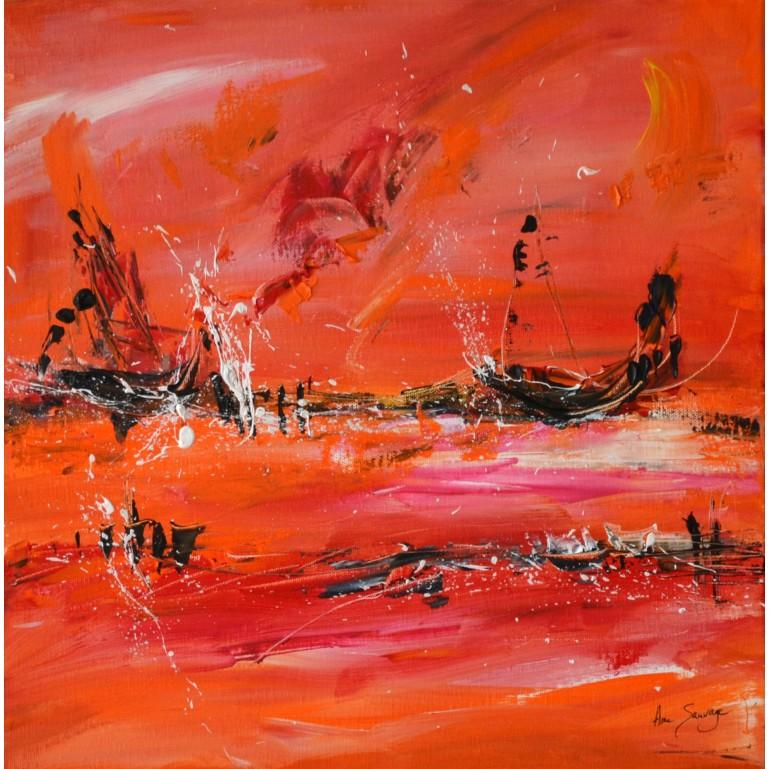 tableau abstrait orange noir