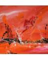 Bateaux sur le monde - tableau abstrait orange