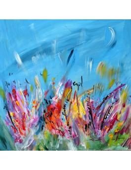 peinture abstraite fleurs