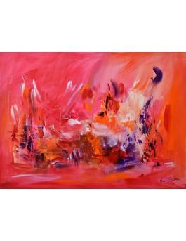 tableau abstrait rouge sur plaque de bois