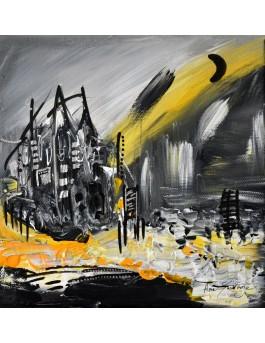 Maison isolée - tableau abstrait noir et jaune