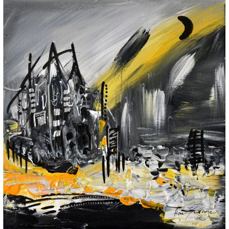 tableau abstrait noir et jaune