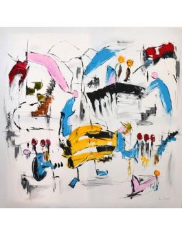 grand tableau abstrait multicolore épuré