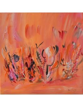 Bouquet floral n°2 - tableau de fleurs orange