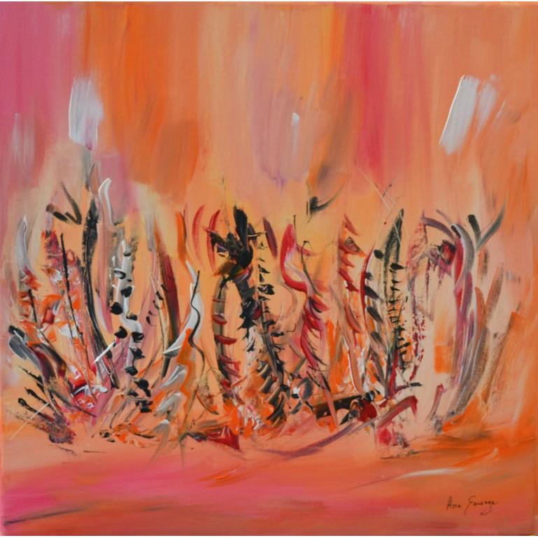 tableau orange de fleurs