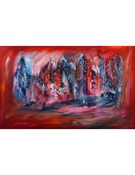 Paysage montagneux - grand tableau rouge