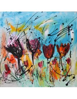 Tulipes - peinture abstraite de fleurs sur plaque de bois