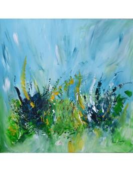 L'éveil de la nature - tableau abstrait bleu vert sur plaque de bois