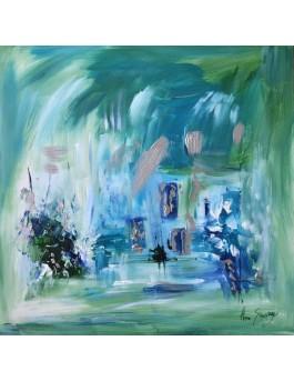 Une journée sur le lac - tableau abstrait vert et bleu sur plaque de bois