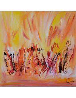 Le printemps arrive - tableau abstrait orange jaune sur plaque de bois