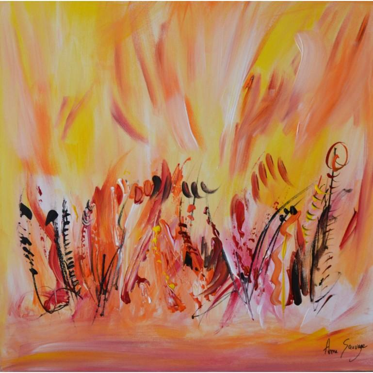 tableau abstrait orange jaune