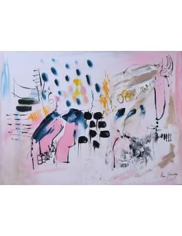Douceur - peinture abstraite rose sur plaque de bois