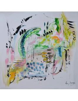 Douceur n°2 - tableau abstrait sur plaque de bois