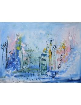 tableau moderne abstrait bleu sur plaque de bois