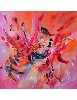 tableau abstrait orange et rouge