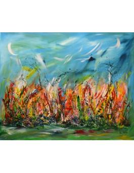 La beauté de la nature - grand tableau contemporain coloré floral
