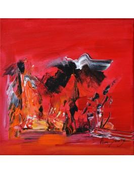 Elegante - peinture abstraite rouge