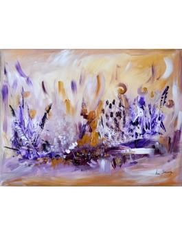 Enlacés dans l'instant - Tableau violet ocre sur plaque de bois