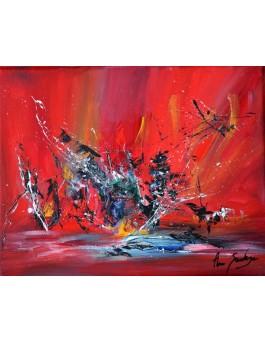 Tumulte - tableau abstrait rouge