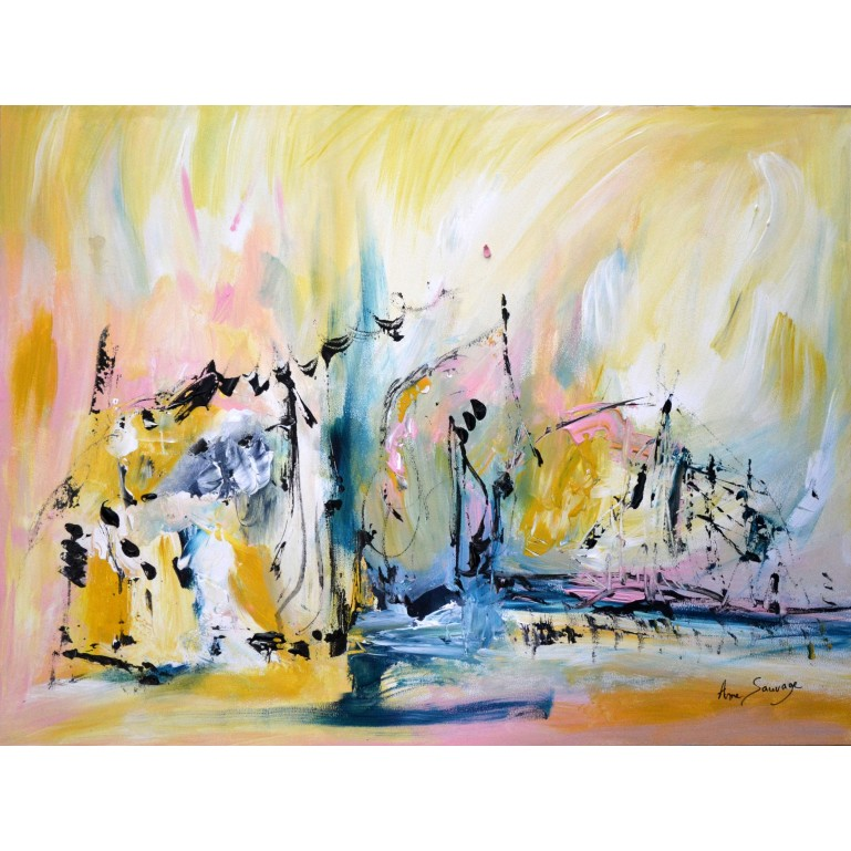 Tableau abstrait jaune bleu rose