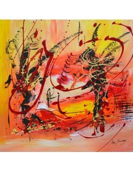 L'écrivain - tableau abstrait orange rouge jaune sur plaque de bois