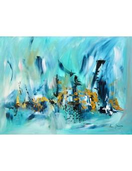 Tableau abstrait bleu turquoise sur plaque de bois