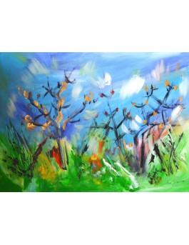 tableau abstrait bleu vert arbres