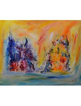 Deux visions - grand tableau abstrait coloré